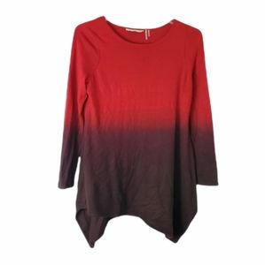 Soft Surroundings Red ombre asymmetrical sweater